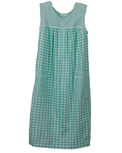 National Plissé Gingham Sleeveless Lounge Dress, Green, (Sleeveless Lounger)
