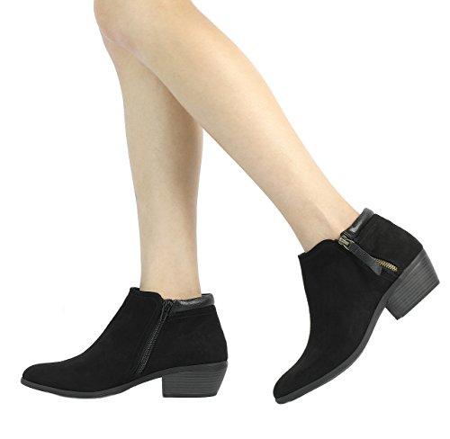 Women's 02 TOETOS Cowboy Zipper Ankle Side Heel Block Booties black Td4d1xwqS