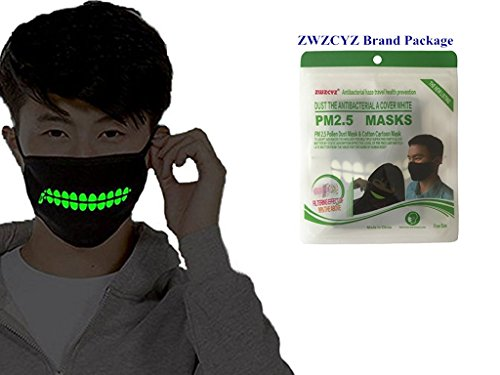ZWZCYZ Boys and Girls Couples Cotton Big Teeth Zipper Luminous Led Anti-Dust Mouth face Mask Anime Halloween Cosplay Gift