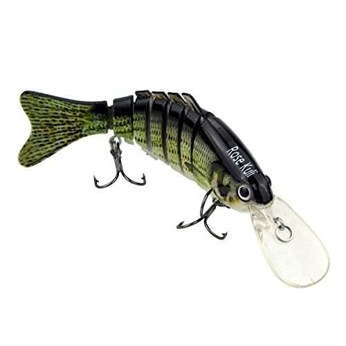 Rose Kuli Life Like Hard Body Swim Multi Jointed Hard Fishing Lure Hook Size #6 Bronze, 3.8