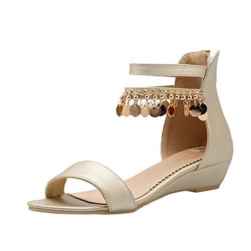 new product 98b9e 02126 Carolbar Womens Zip Kedjor Öppen Tå Mode Ankel-rem Elegans Låg Klack  Klänning Sandaler Guld
