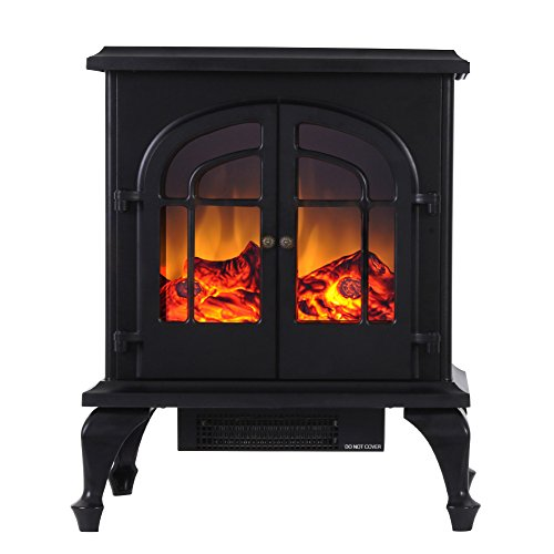 Valuxhome Burbank 24 inch 750W/1500W, Compact Free Standing Electric Fireplace Heater, Black Compact Corner Electric Fireplace