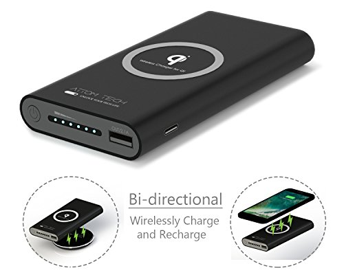 Wireless Charger Power Bank, Attom Tech 10000mAh Qi Wireless External Battery Pack 2.1A Bank Portable Charger for Galaxy S8,S7,S6,Edge,iPhone X, 8, 8 Plus, Nexus, HTC, Nokia, LG G6(Black)
