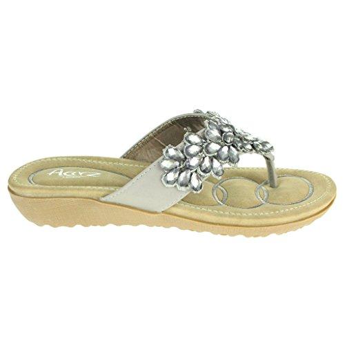 Mujer Señoras Rebordeado Suela blanda Ponerse Verano playa Casual Fiesta Punta abierta Comodidad Plano Sandalias Zapatos Tamaño Gris