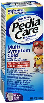 - PediaCare Multi-Symptom Cold Plus Acetaminophen Liquid Grape Flavor - 4 oz, Pack of 2