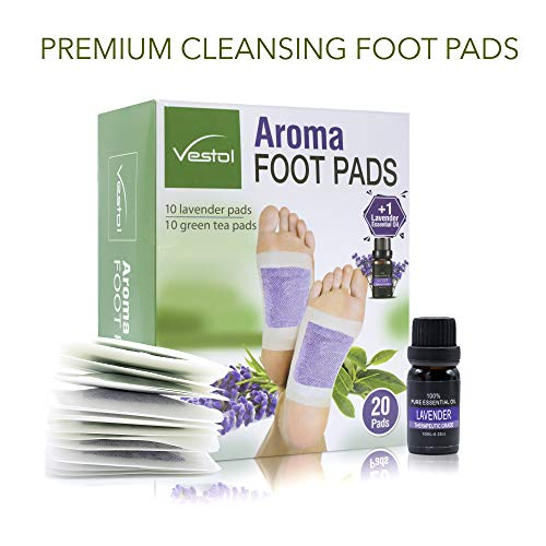 Bamboo Vinegar Aroma Foot Pads with Lavender and Green Tea Powders Plus Lavender Essential Oil for Stress Relief and Relaxation (20 Count)