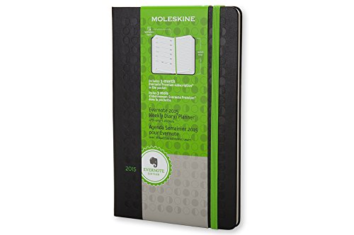 (Moleskine 2015 Evernote Planner Weekly Notebook, 12M, Large, Black, Hard Cover (5 x 8.25))