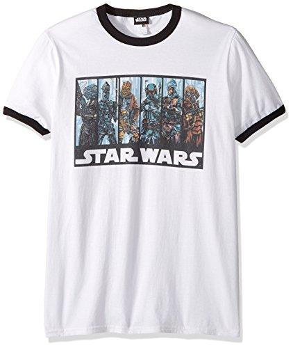 Star Wars Men's Official 'bh Guild' Premium Ringer Graphic Tee, White/Black Large ()