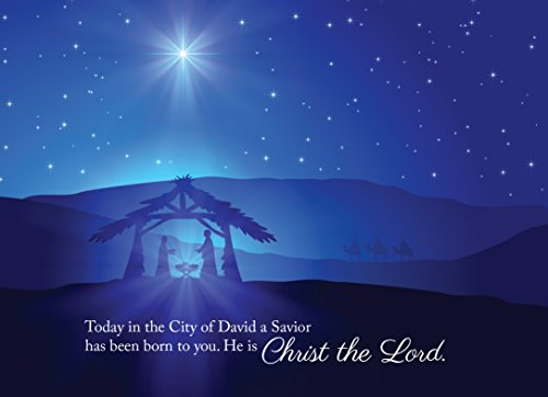 Scene Card Christmas Nativity (Christmas Greeting Cards - H1601. Greeting Cards Featuring a Nativity Scene with a Biblical Christmas Message. Box Set Has 25 Greeting Cards and 26 White with Silver Foil Lined Envelopes.)