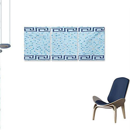 WinfreyDecor Aqua Canvas Wall Art Set Antique Greek Border Mosaic Tile Squares Abstract Swimming Pool Design Wall Stickers 16