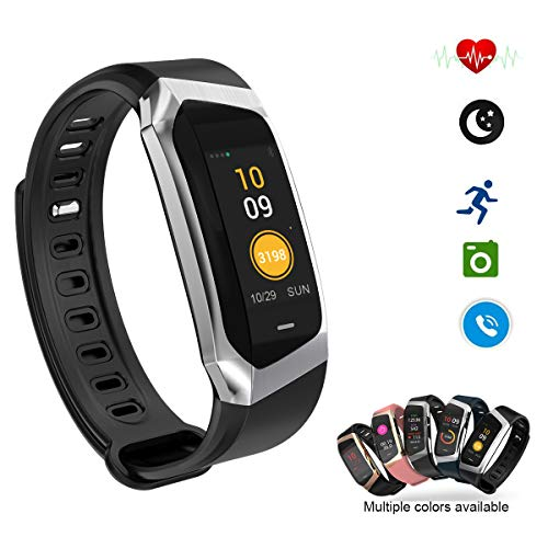 Smart Watch Color Touchscreen 2018 Newest Special Edition Bluetooth Sport Band with Heart Rate & Blood Pressure & GPS Sleep Monitor Fitness Activity Tracker, Android iOS(Black&Silver)