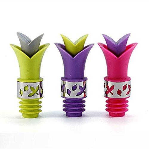 Cute Funny Wine Bottle Stopper Pourer Silicone Material Lily Wine Pourer Packed of 3pcs by HYTK ( Green, Pink, Purple)