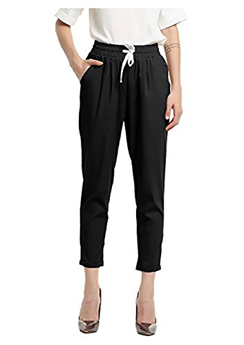 Durcoo Womens Shorts High Waist Drawstring Elastic Waist Ankle Length Pants Knee Length Shorts