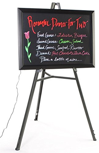 Neon Menu Board with Easel Floor Stand, 13 Flashing Light Effects, LED Writing Board for Use with Wet Erase Markers (6 Colors Included), Black by Displays2go