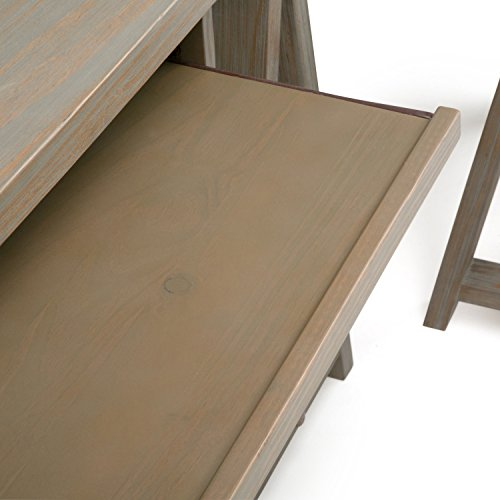 Simpli Home Sawhorse Solid Wood L-Shape Corner Desk, Distressed Grey by Simpli Home (Image #3)