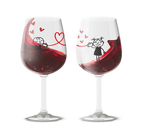 I Love You Wine Glasses - Valentines The Wine Savant Love Wine Glasses Set of 2, His and Hers Matching Couples Wine Glasses, Personalized Gift Ideas For Women and Men, Holiday, Birthday, Anniversary
