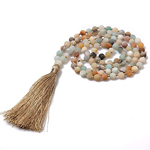 (KAMRESH 4mm Mala Beads Necklace for Women Men Handmade Long Tassel Sweater Neckalce Natural Gemstone Jewelry for Prayer Meditation)
