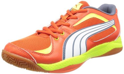 Puma Ballesta Jr - Zapatillas deportivas para interior de material sintético infantil rojo - Rot (cherry tomato-white-grisaille-fluo yello 03)