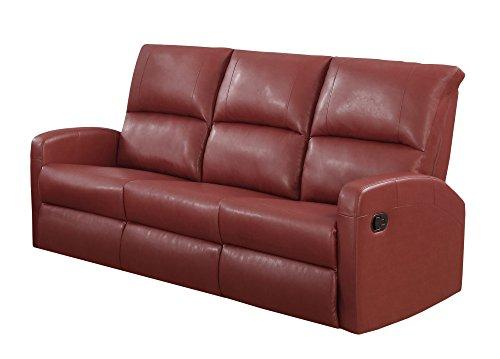 Monarch Specialties Reclining Sofa in Red Bonded Leather