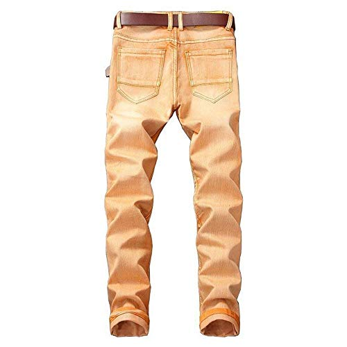 Fori Jeans Slim Cowboy Classiche Pantaloni Ragazzi Stretch Da Chern Fit Denim Strappati Rotti Di Retrò Arancia Uomo Con 77YRzSp