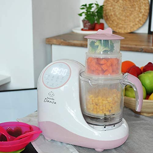 41tIsFRRjCL. AC - Baby Food Maker Chopper Grinder - Mills And Steamer 8 In 1 Processor For Toddlers - Steam, Blend, Chop, Disinfect, Clean, 20 Oz Tritan Stirring Cup, Touch Control Panel, Auto Shut-Off, 110V Only