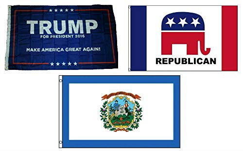 ALBATROS 3 ft x 5 ft Trump #1 with Republican with State of West Virginia Set Flag for Home and Parades, Official Party, All Weather Indoors -