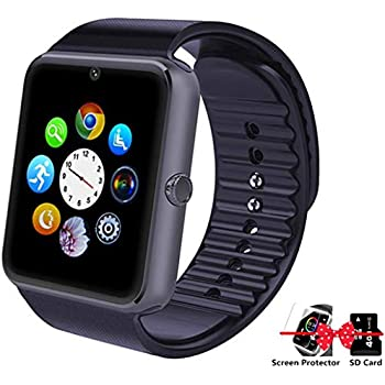 Smartwatch Bluetooth Smart Watch with Camera Pedometer Music Player Sleep Monitor for Android (Full Functions) and iPhone (Partial Functions(Black)