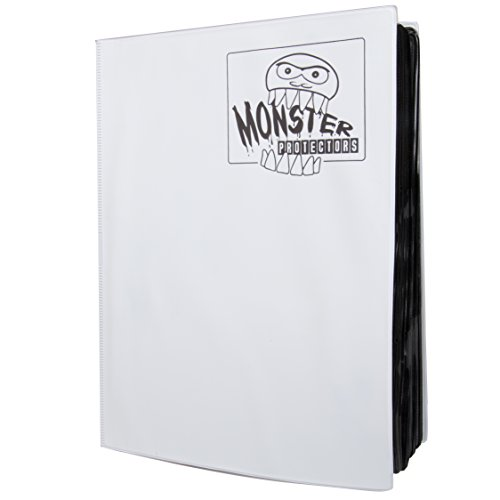 Mega Monster Binder XL Size (Twice as Large)- Holds 720 Cards- 9 Pocket Trading Card Album for Yugioh, Magic and Pokemon- White (Yugioh Mixed Deck)