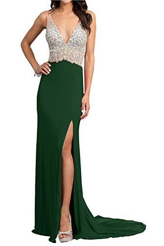 Rot Dunkel mia Steine Abendkleider Festlichkleider Ballkleider Braut Elegant Lang Partykleider mit Gruen V Zahlreichen Ausschnitt La qA6twFt