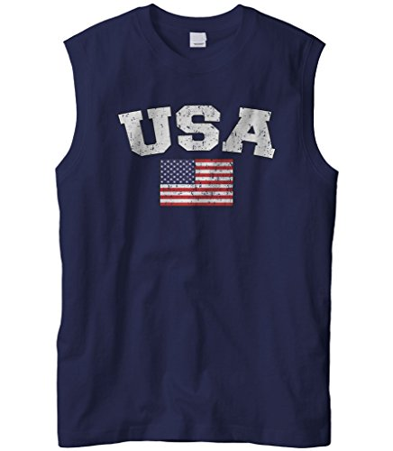 Cybertela Men's Faded Distressed USA Flag Sleeveless T-Shirt (Navy Blue, Large)
