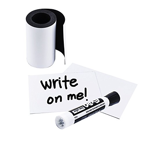 (Houseables Write On Magnetic Roll, Dry Erase Magnet Strip, Glossy White, 3 Inch Wide x 10' Long, Wipe Off Labels, Magnetically Receptive Whiteboard Sheet, Board Magnets, for Shelf, Filing Cabinet)