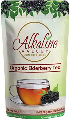 Elderberry Tea Organic - 100% Alkaline - 15 Unbleached/Chemical-Free Elderberry Tea Bags - Caffeine-Free, No GMO
