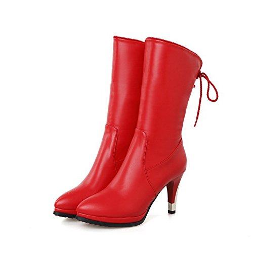 AllhqFashion Damen Rein Blend-Materialien Hoher Absatz Schnüren Rund Zehe Stiefel,Rot,37