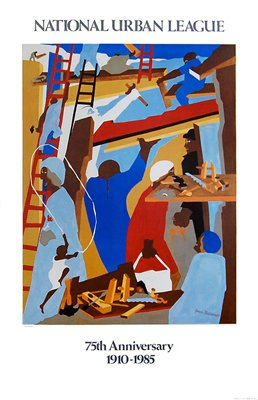 """Bruce Teleky The Builders by Jacob Lawrence 19.125""""x25"""" Art Print Poster from Bruce Teleky"""
