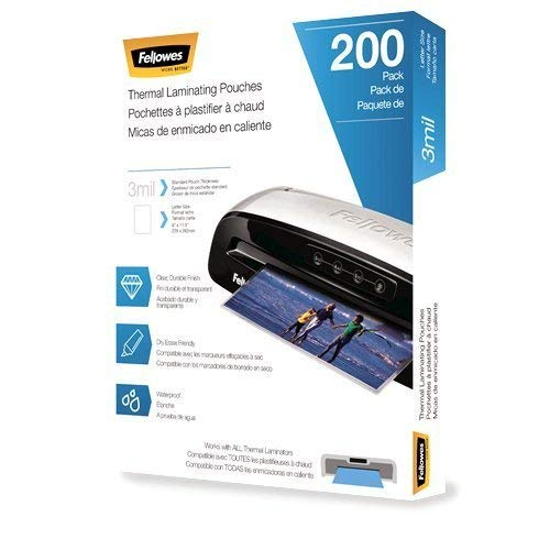 Fellowes 5743401 3 Mil Letter Laminating Pouches - 200 Per Pack