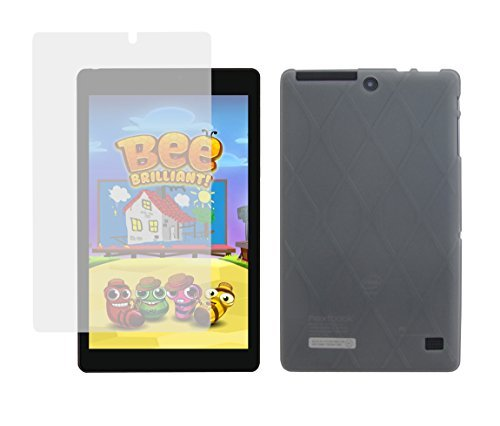 iShoppingdeals - Smoke TPU Rubber Cover Case + Clear Screen Protector for Nextbook Ares 8L Verizon 4G LTE Tablet (Model NXA8LTE116 Only) - Nextbook 8 Tablet Gel Case