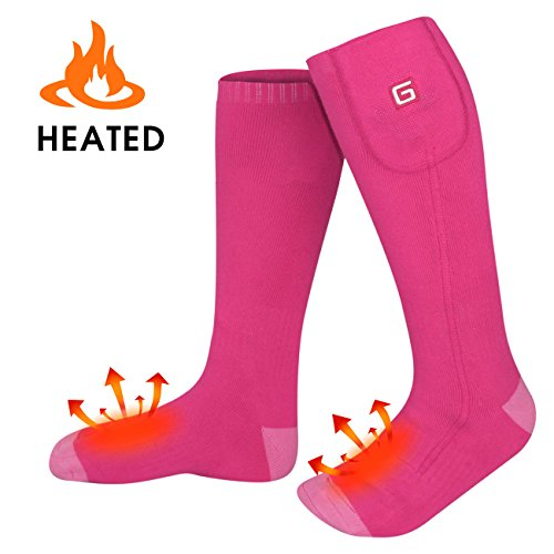 GLOBAL VASION Heated Socks,Unisex Cold Weather Electric Heated Socks,Socks Feet Warmers for Chronically Cold Feet Skiing,Camping,Hiking,Snowboating (Pink)