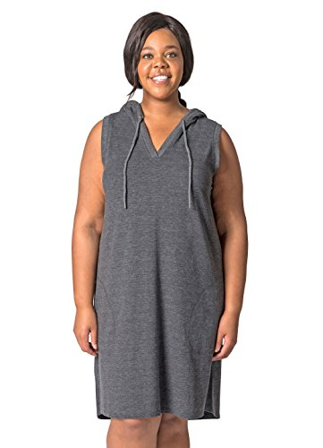 RBX Active Women's Plus Size Hooded Dress Charcoal Heather 2X