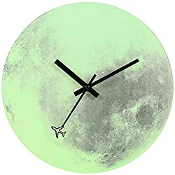 JoFomp Night Light Wooden Wall Clock, 12 Inch Luminous Silent Non-Ticking Battery Operated Wall Clocks, Airplane Around The Moon Glow in The Dark Decorative Wall Clock for Home Kitchen Office (Moon)