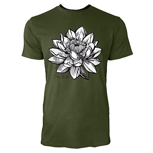 SINUS ART ® Handgemalte Lotusblüte Herren T-Shirts in Armee Grün Fun Shirt mit tollen Aufdruck