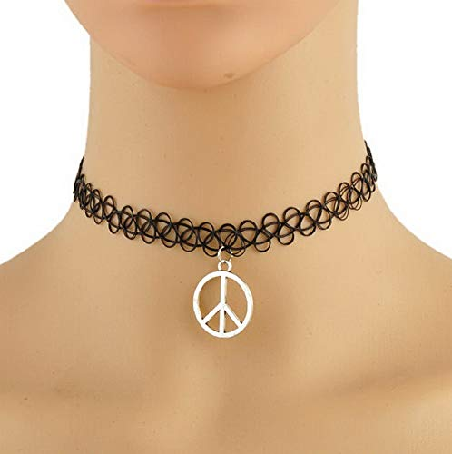 Hebel New Henna Vintage Elastic Boho 90s Gothic Black Tattoo Choker Stretch Necklace L | Model NCKLCS - 35660 |