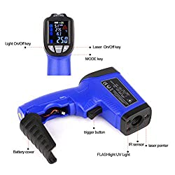 Digital Infrared Thermometer Laser Temperature Humidity Gun Non-Contact LCD Screen IR Gun with Temp and Hygrometer for Indoor Outdoor Cold or Hot Articles -58?~1022?