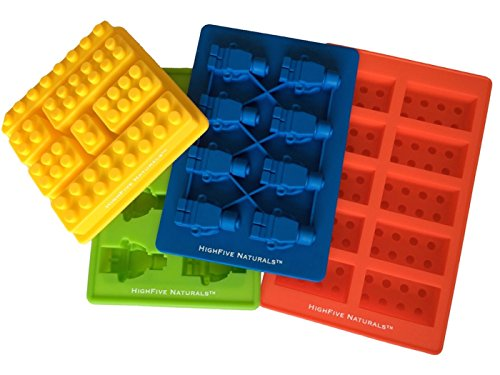 Building Bricks and Figures Silicone Candy Molds - Lego Style PREMIUM 4 Piece Party Set - Make Ice Cubes, Cake Toppers, Chocolate, Fondant, Fruit Juice Gummies, Healthy Snacks, Jello, Crayons, Soap, Candles - Fantastic Party Favors and Birthday (Snack Cube)