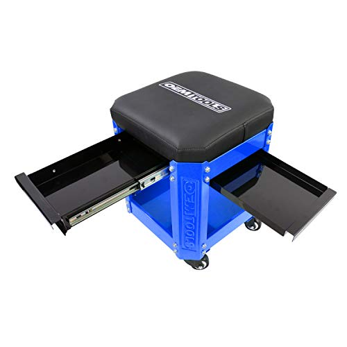 OEMTOOL 24996 Blue Rolling Workshop Creeper Seat with 2 Tool Storage Drawers Under Seat Parts Storage Can Holders by OEMTOOLS (Image #1)