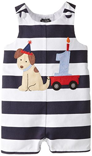 Mud Pie Baby Boy Birthday Shortall, Puppy Stripe,  12 18 Months
