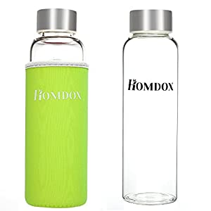 Homdox® Glass Water Bottle Made of High-quality Environmental Borosilicate Glass, Unique and Stylish Portable Glass Water Bottle With Nylon Sleeve (360ML without Tea Infuser,Green Sleeve)