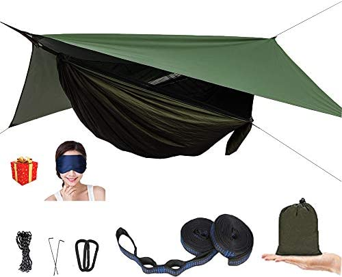 AEETT Camping Hammock with Mosquito Net and Rain Fly – Double Hammock Bug Net – Tree Hammock Tent for Outdoor Hiking Campin Backpacking Travel