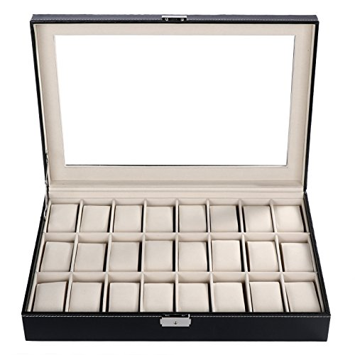 Homdox 24 Grids Watch Display Watch Storage Case Jewelry Storage Organizer...