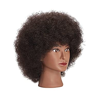 Traininghead 10'' Afro Mannequin Head With 100% Human Hair Training Head Manikin Cosmetology Doll Head For Hairdresser With Clamp Stand