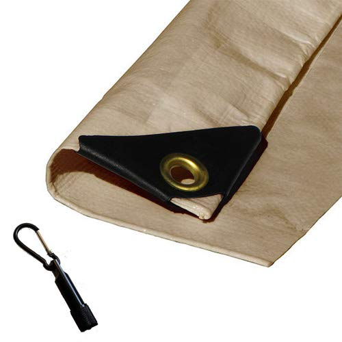Heavy Duty Waterproof Desert Beige Tarp with Reinforced Corners Bundled with Carabiner Flashlight (12X14)